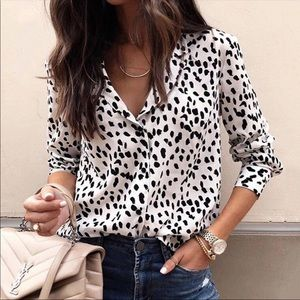 Silky Leopard Print Button up Long Sleeve Blouse